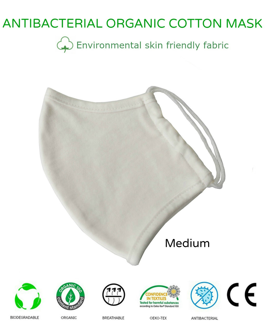 Unisex Washable Reusable 2Ply Antibacterial Organic Cotton Cup-Shape Face Mask-MEDIUM
