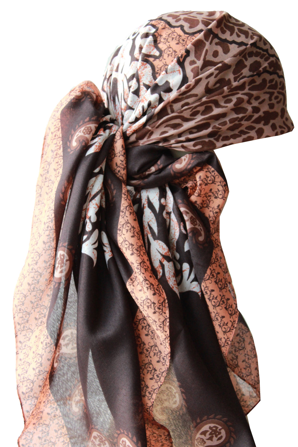 Large Square Head Scarf  - Brick Brown