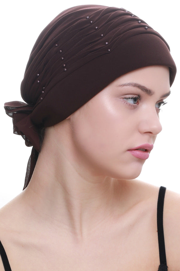 Deresina Twisted pleated cancer headwear brown