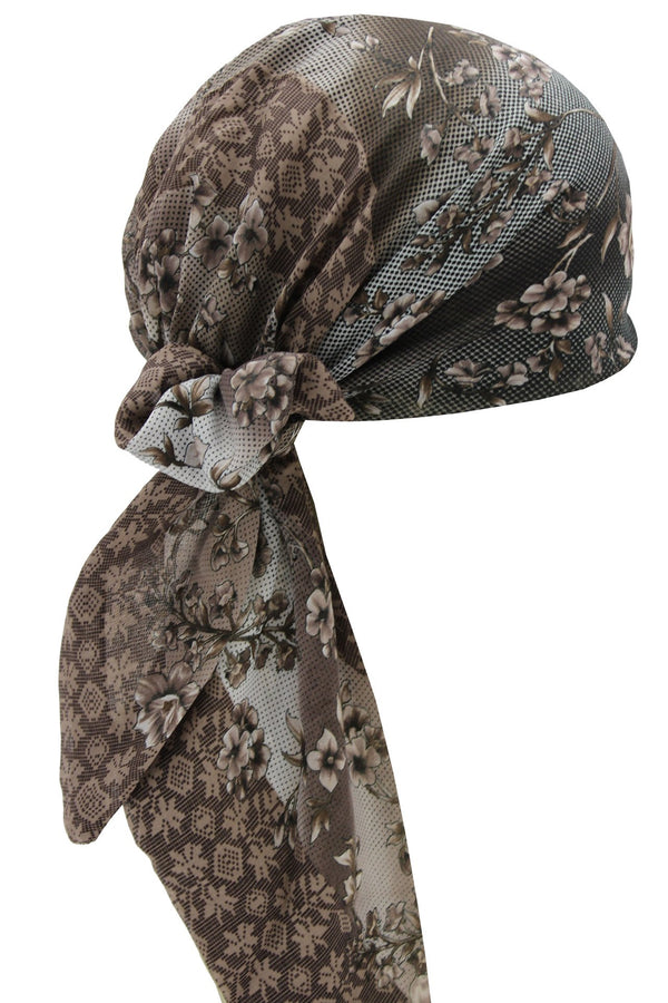 Deresina Easy tie chemo headscarf brown black flowers