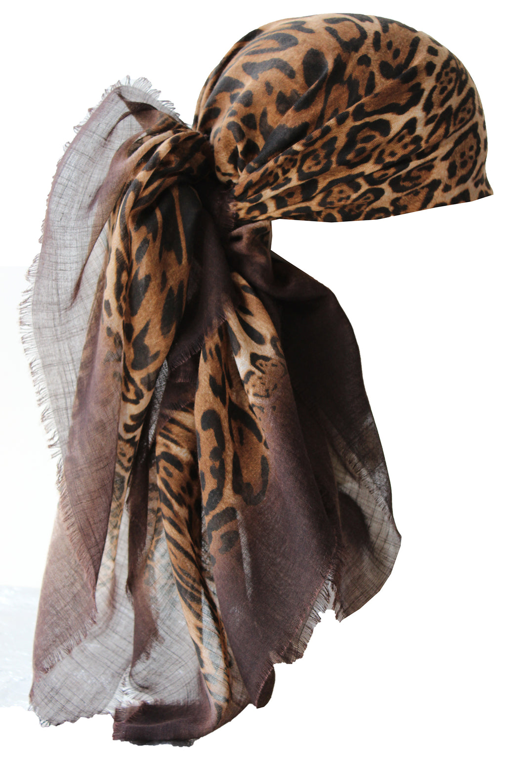 Special Fringed Trim Square Headscarf- Brown Leopard