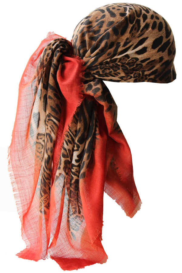 Special Fringed Trim Square Headscarf- Brown Leopard Orange Edges