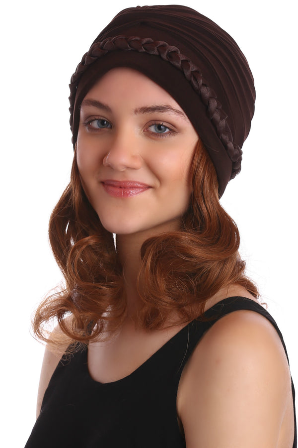Braided Beaded Hat with Hair - Brown