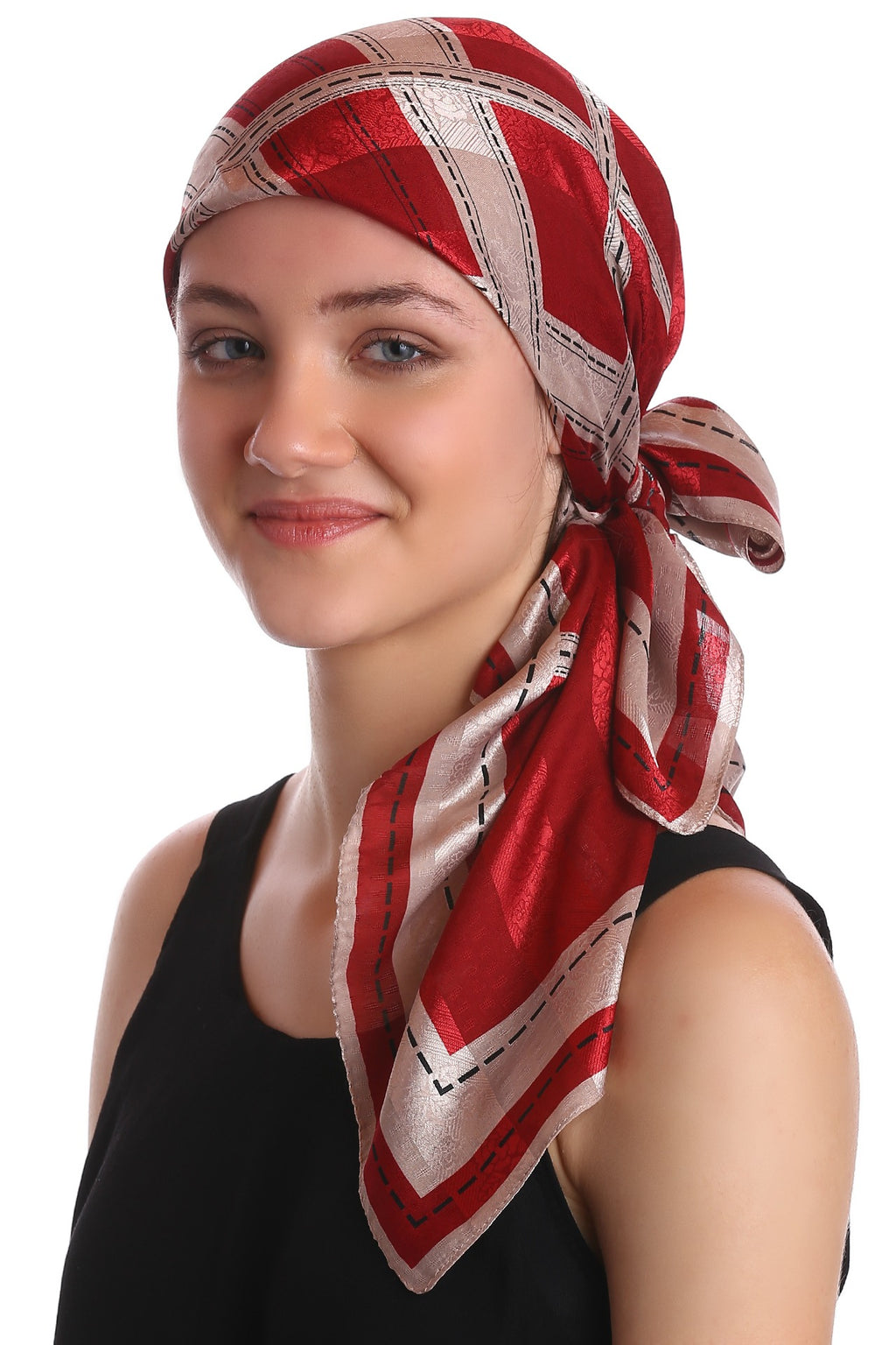 Square Head Scarf - Burgundy/Beige