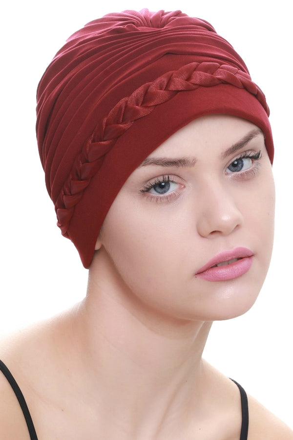 Deresina Braided detail chemo turban burgundy