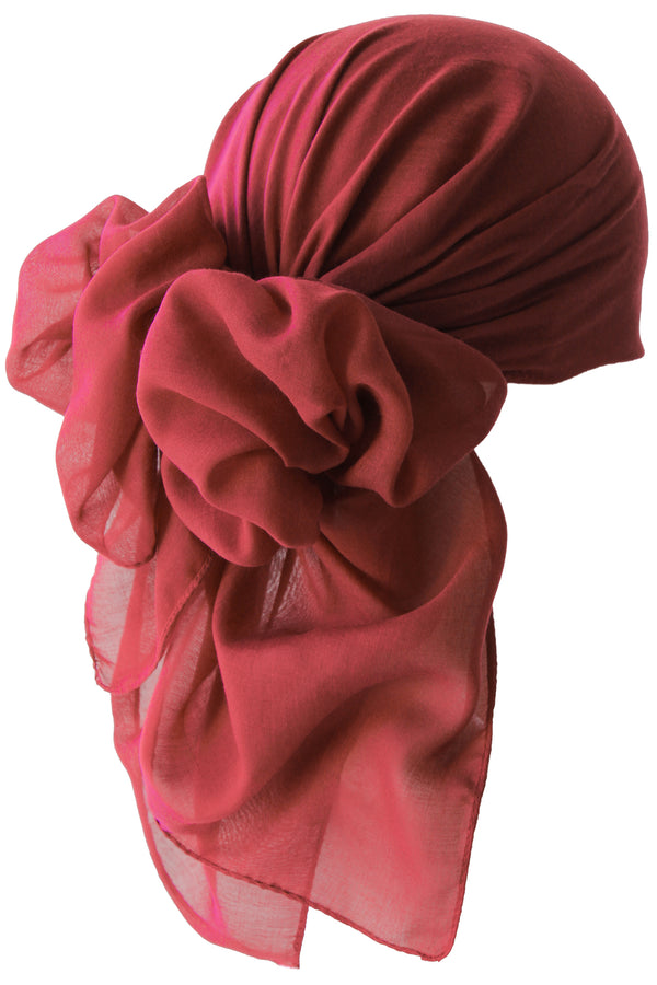NEW-Plain Square Headscarf- Burgundy