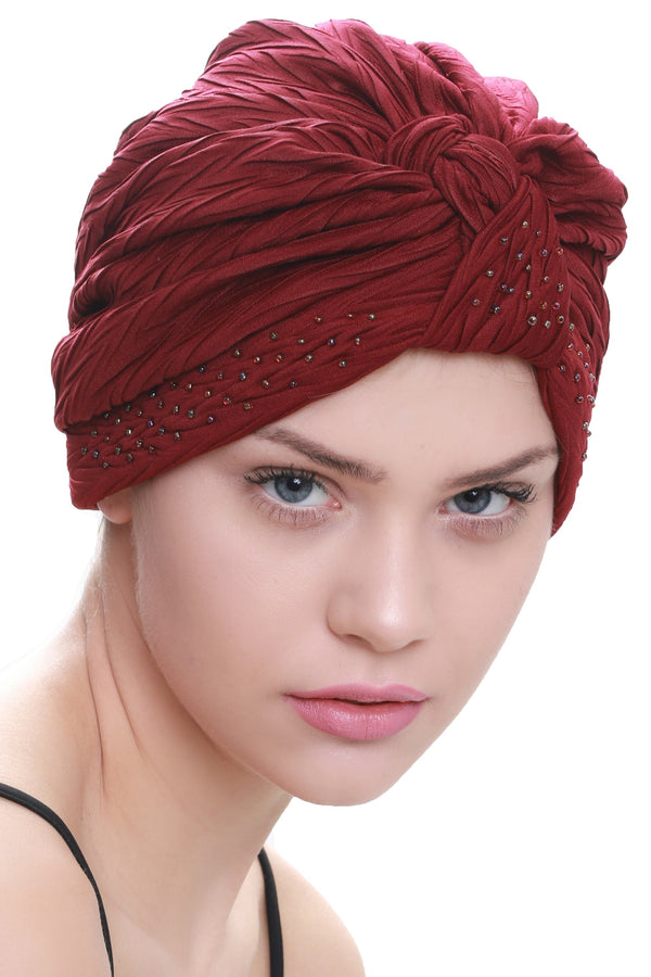 Deresina Beaded w turban for hairloss burgundy