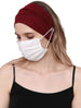 Clear Button Plain Headband for Mask - Burgundy