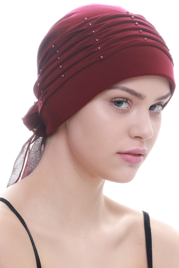 Deresina Twisted pleated cancer headwear burgundy