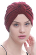 Deresina Brocade w turban for chemo burgundy