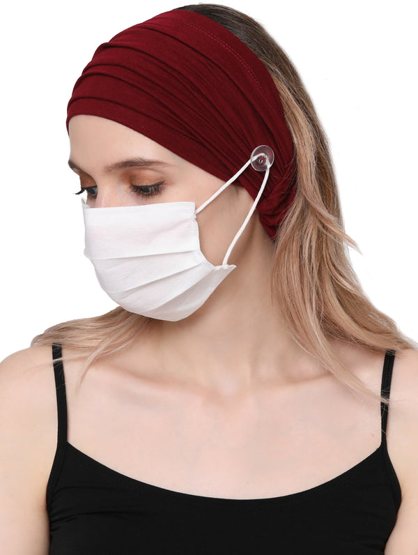 Stretchy Headband for Mask - Burgundy