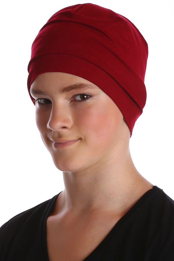 Deresina teen beanie for hairloss burgundy
