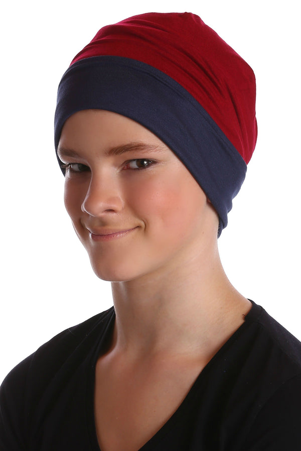 Deresina teen reversible beanie for hairloss burgundy denim