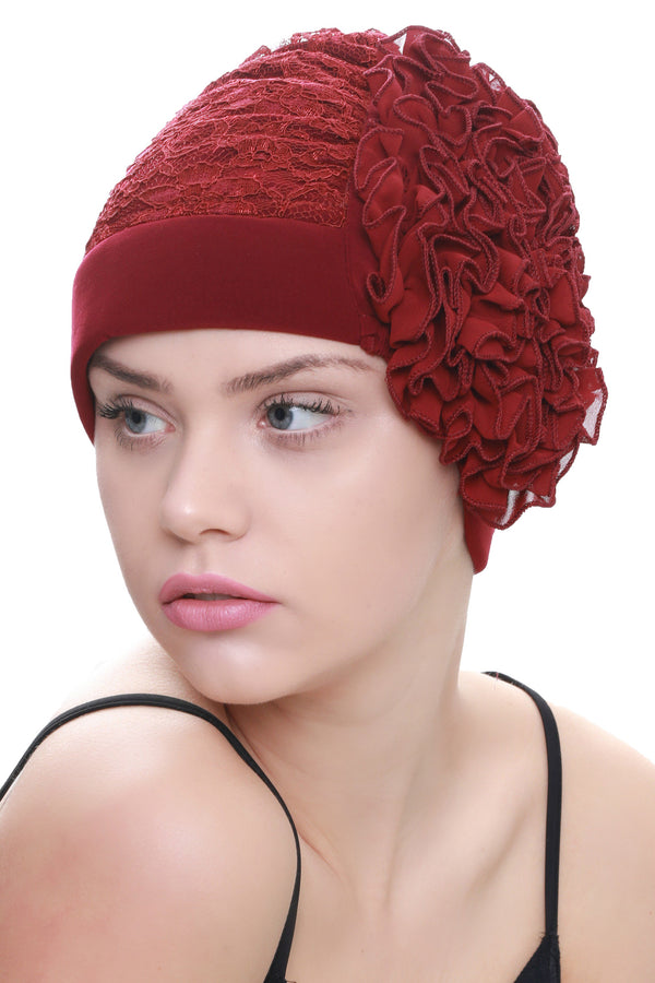 Deresina Lace hairloss headwear with ruffle flower burgundy
