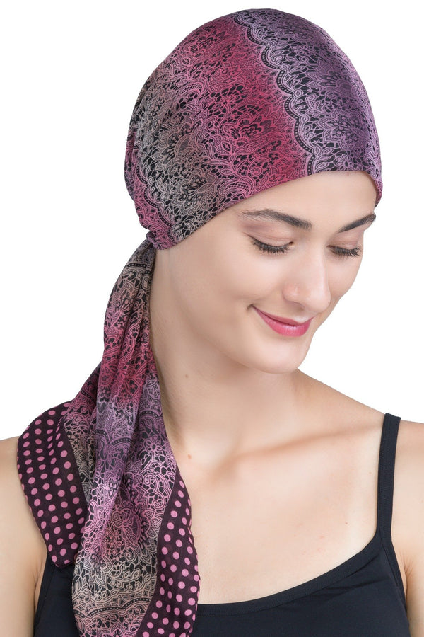 Deresina Easy tie chemo headscarf burgundy lace patterned