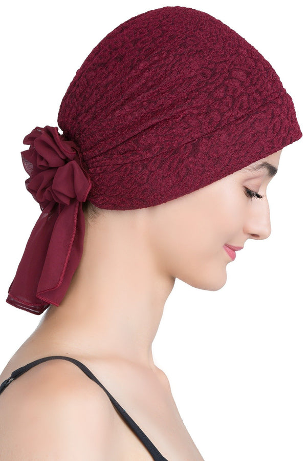 deresina brocade headwear georgette chemo hats burgundy