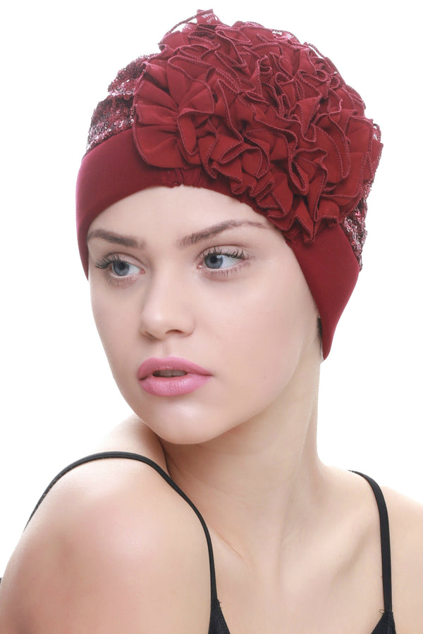 Deresina Lace hairloss headwear with ruffle flower sequin burgundy