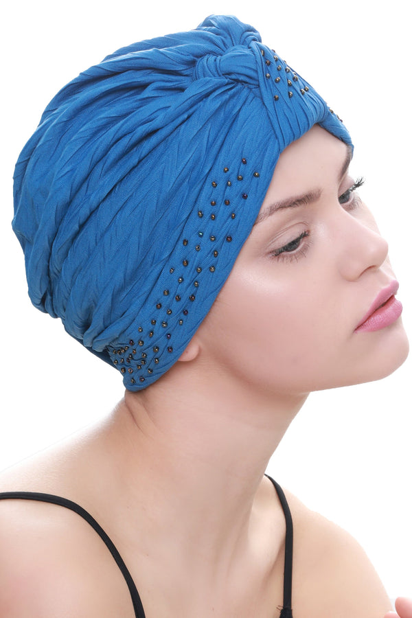 Deresina Beaded w turban for hairloss caroline blue