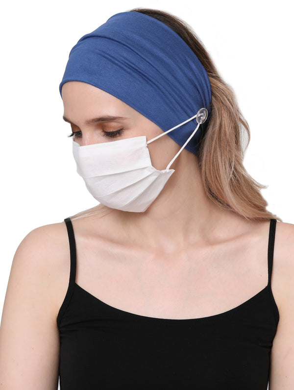 Clear Button Plain Headband for Mask-Carolina Blue