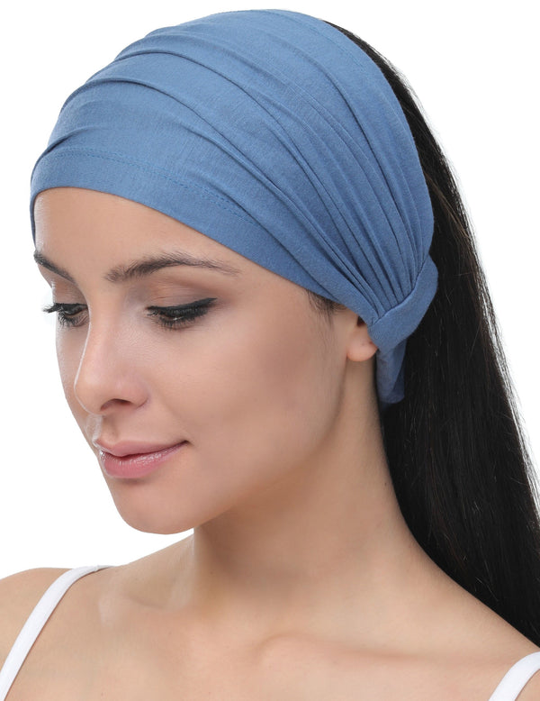 Elasticated Stretchy Headband - Caroline Blue