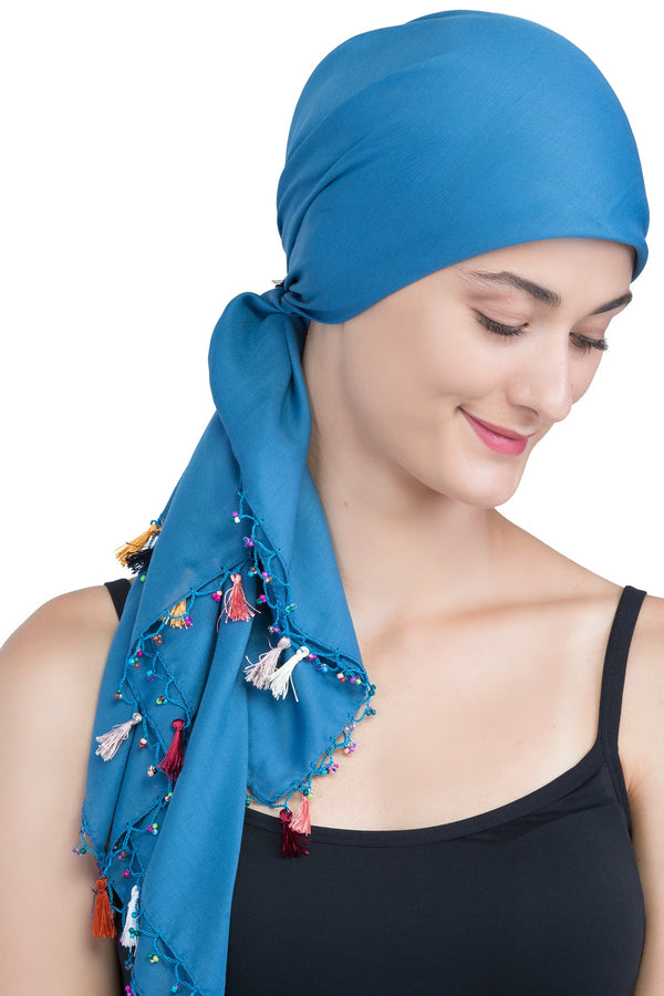 Beaded Square Head Scarf - Caroline with Tassels