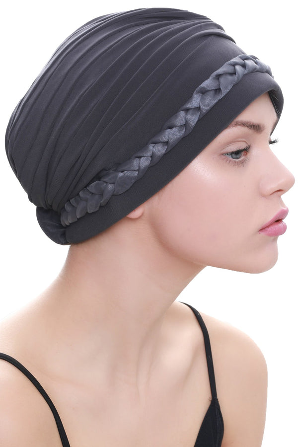 Deresina Braided detail chemo turban charcoal