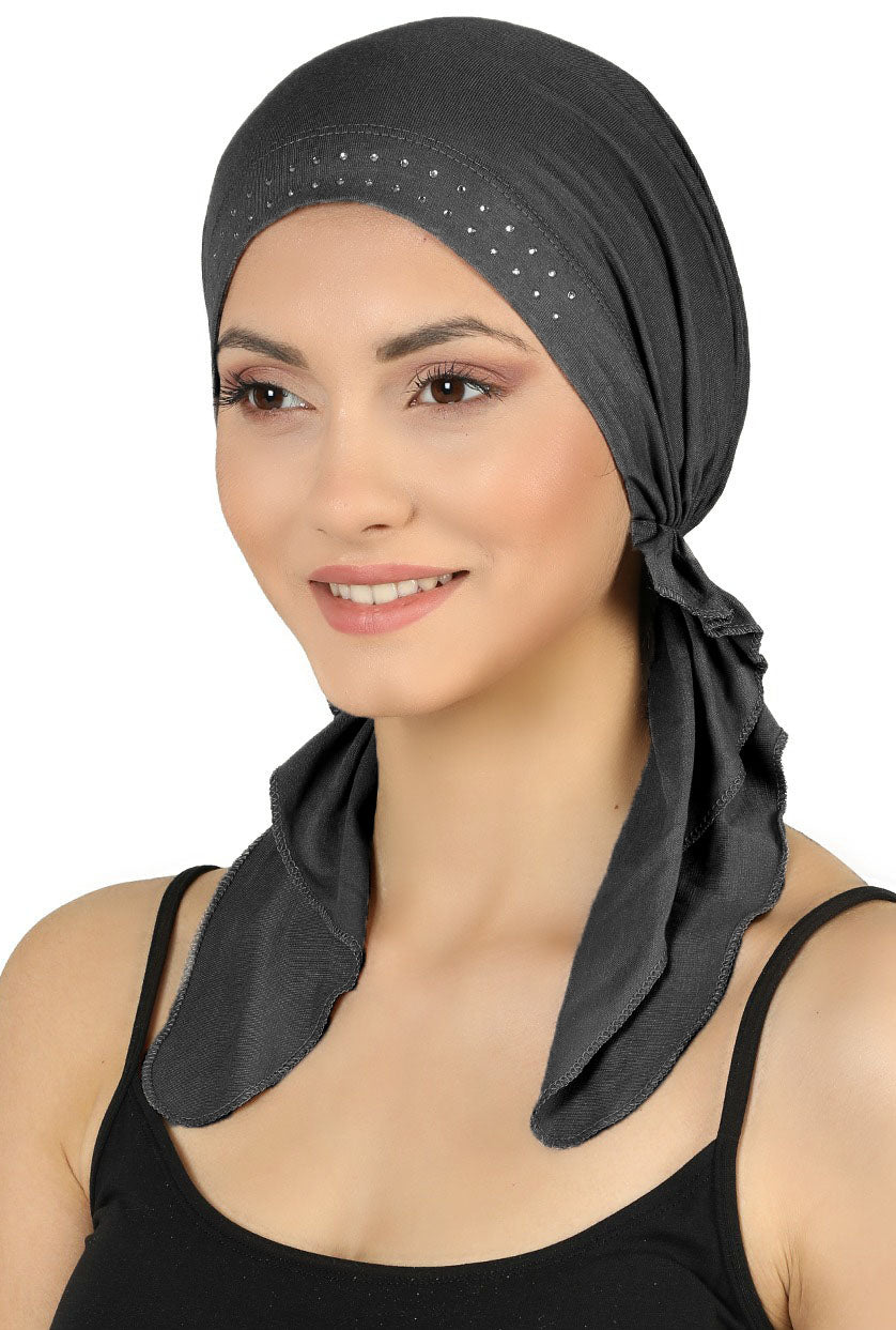 JEWELLED Front Pre tied Cotton Bandana - Charcoal