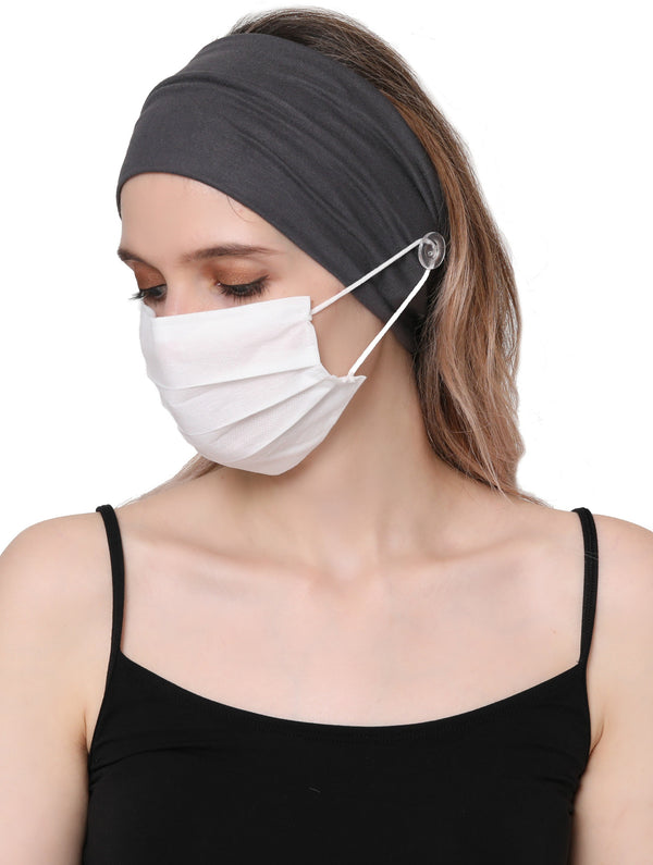 Clear Button Plain Headband for Mask-Charcoal
