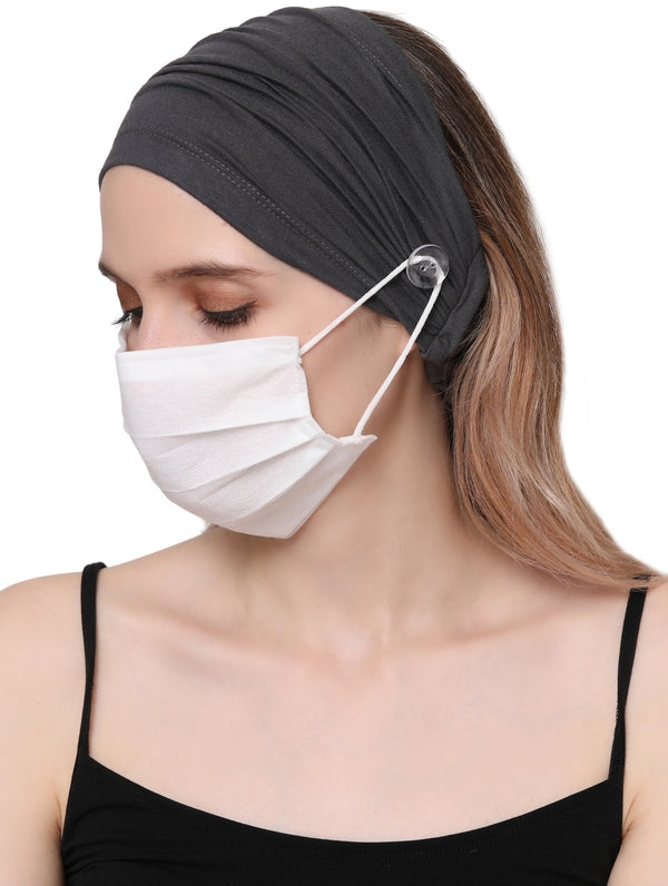 Stretchy Headband for Mask - Charcoal