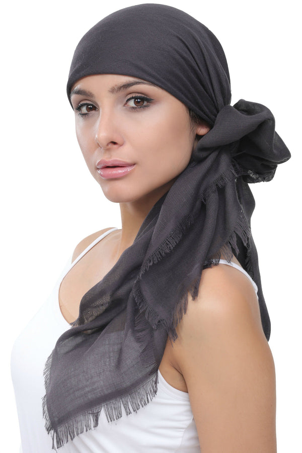 Deresina Ultra Soft Chemo Headscarf Charcoal With Edges