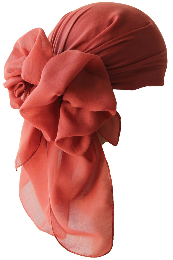NEW-Plain Square Headscarf- Cinnamon