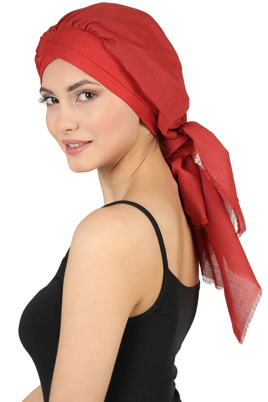 W Front Cap with Attached Scarf (Cinnemon Plain)