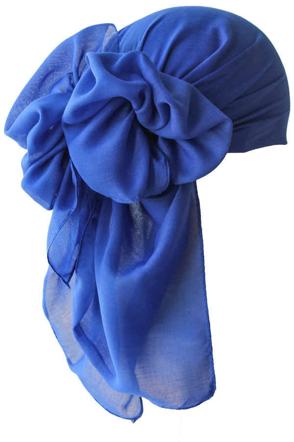 NEW-Plain Square Headscarf- Cobalt Blue