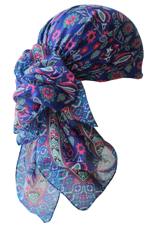 Everyday Square Head Scarf - Cobalt Blue in all-over print