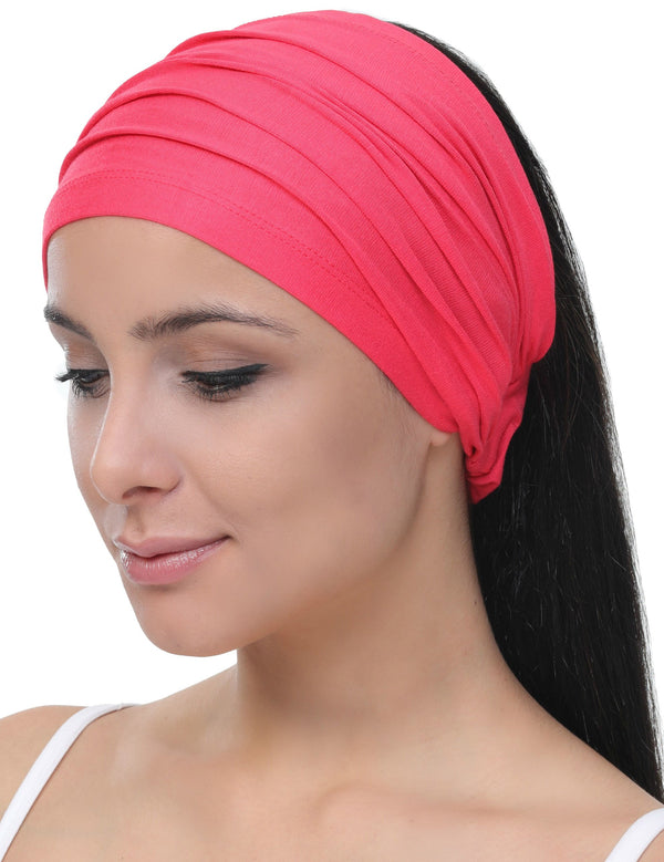 Elasticated Stretchy Headband - Coral