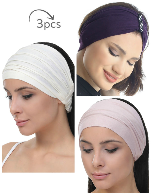 3 Pieces Headband -Cream-Mulberry-Powder