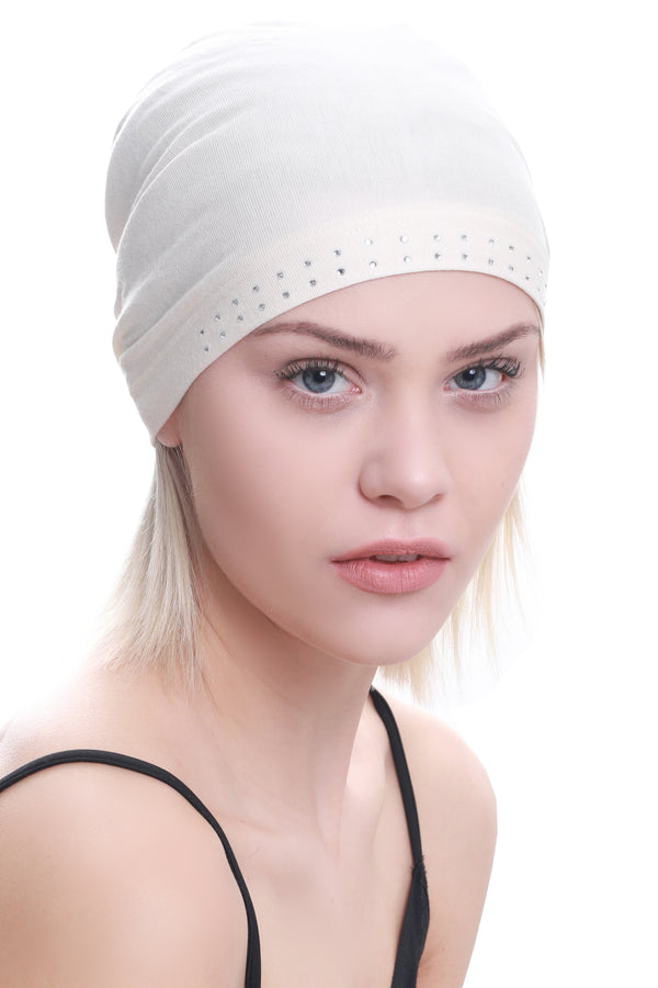 Jewelled Front Essential Cap - Cream