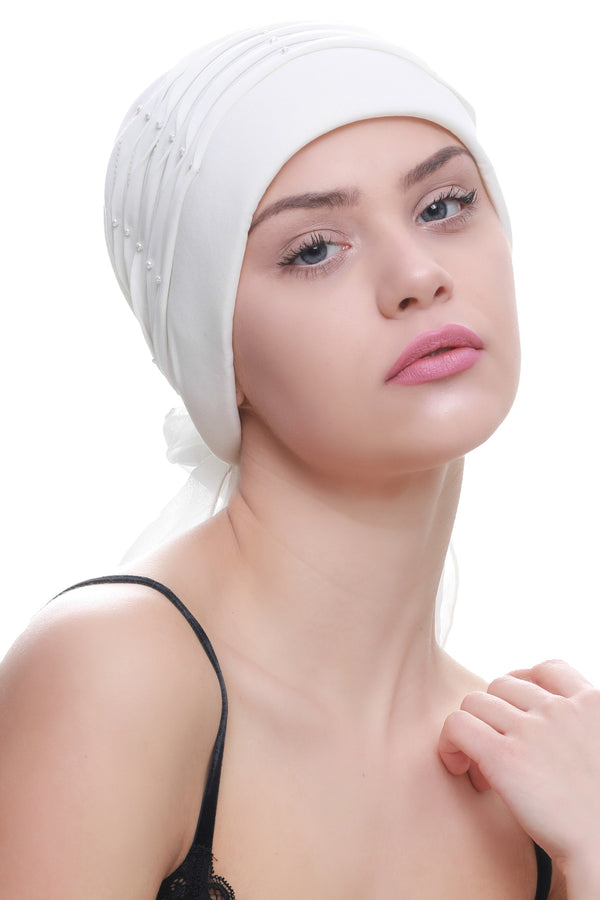 Deresina Twisted pleated cancer headwear cream