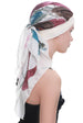 Deresina W cap with attached chemo headscarf cream rose abstract design