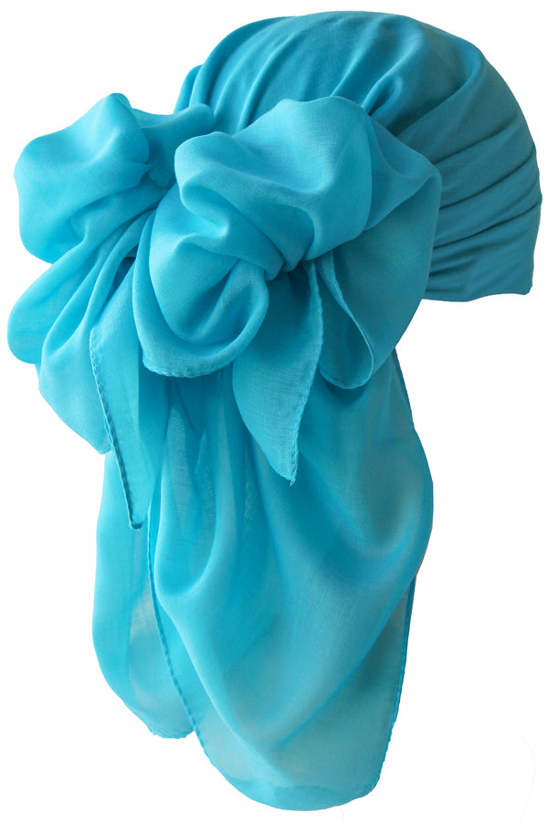 NEW-Plain Square Headscarf- Cyan