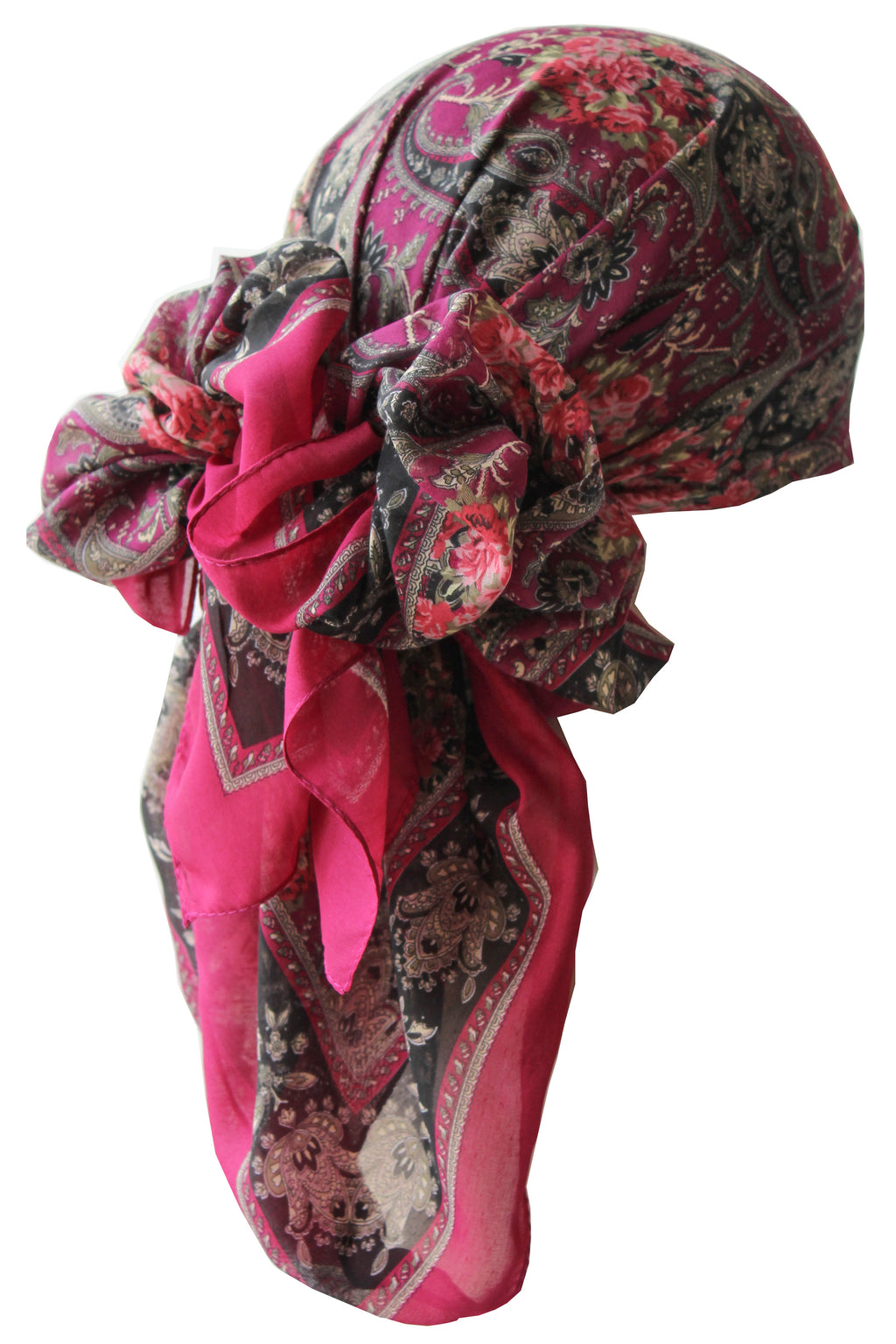 Everyday Square Head Scarf - Deep Pink Paisley