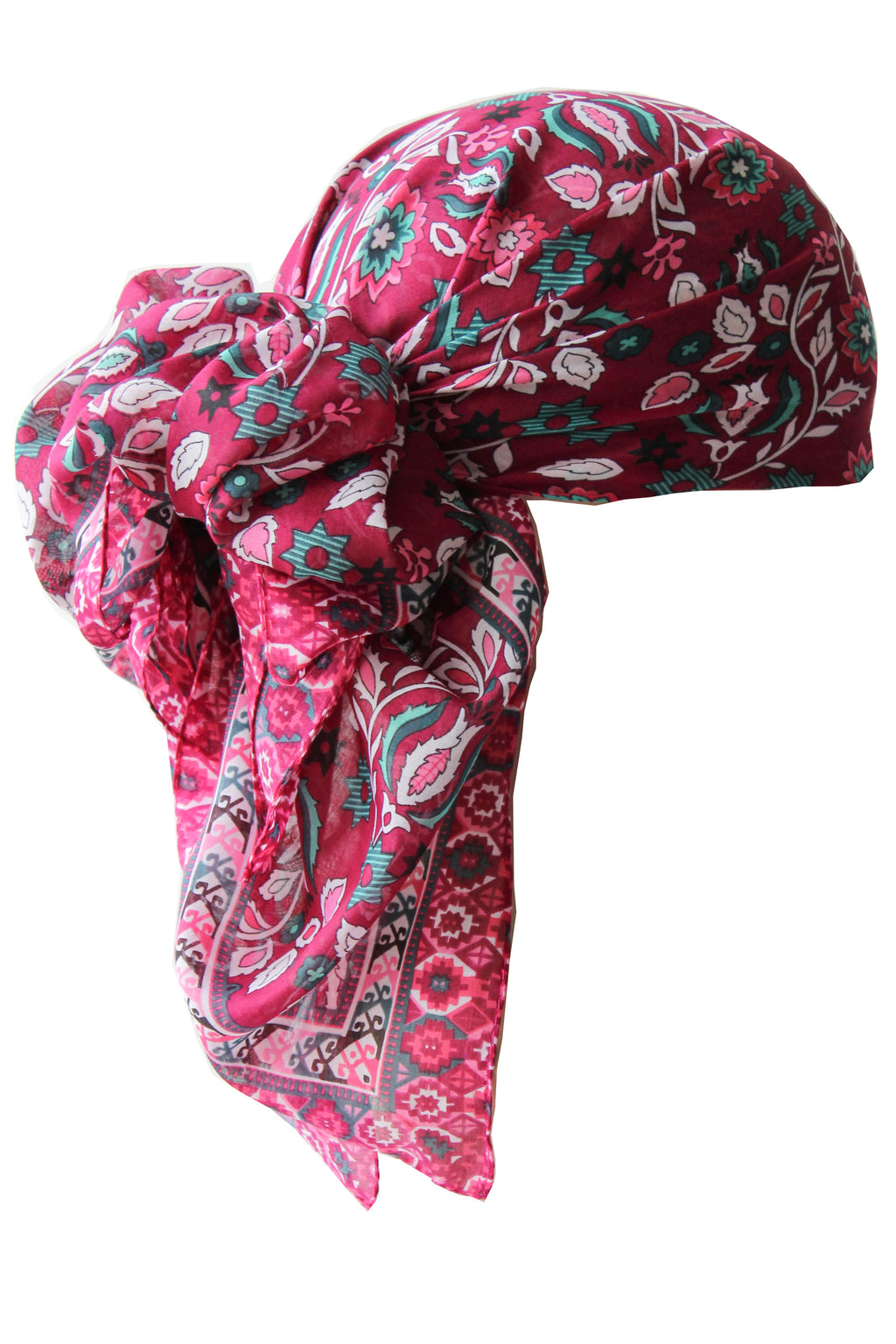 Everyday Square Head Scarf - Deep Pink in all-over print