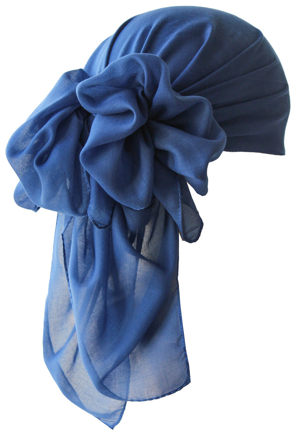 NEW-Plain Square Headscarf- Denim