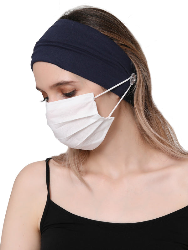 Clear Button Plain Headband for Mask - Denim