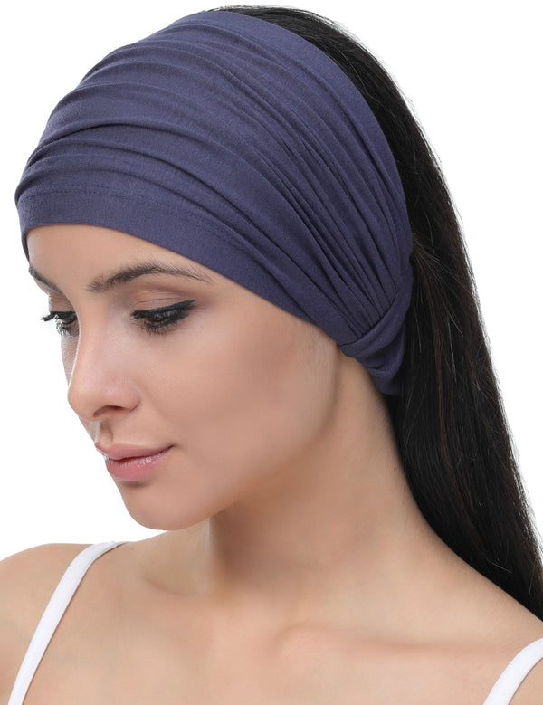Elasticated Stretchy Headband - Denim