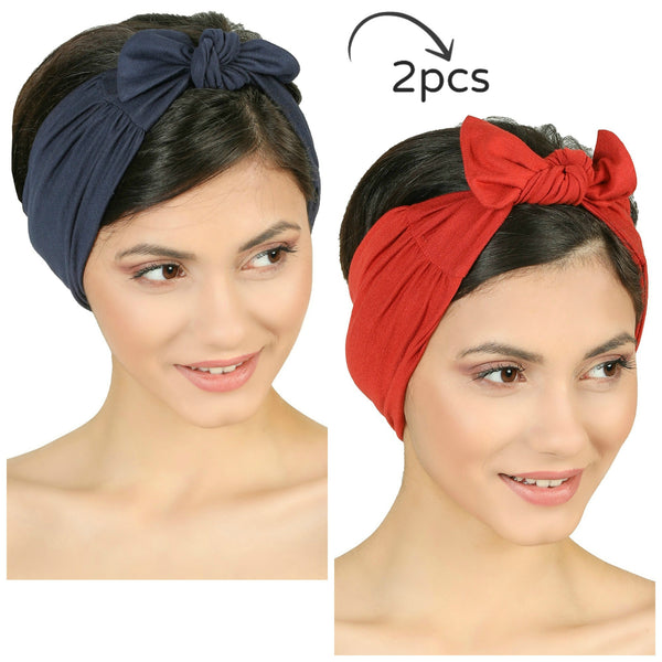 Bow Tie Headband-Denim/Cinnemon