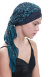 Deresina W cap with attached chemo headscarf denim teal paisley