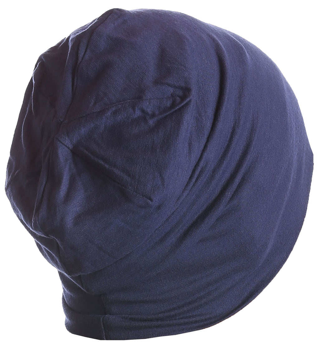 Solid Reversible Beanie for Men - Denim