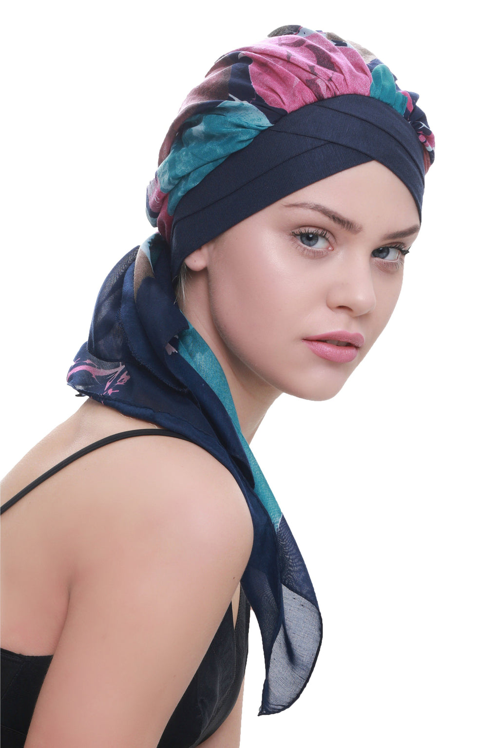 Deresina W cap with attached chemo headscarf denim teal abstract design