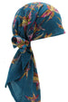 Easy Tie Head Scarf  (08-Teal Leaves)
